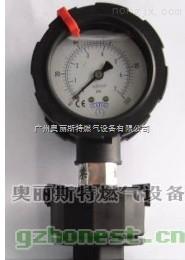 PP隔膜压力表,PP表,0-1kg/cm2,单面充油式,60mm,立式,內牙20mm